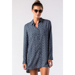 Mott50 Dames Josie Boyfriend Button Down Navy Geo