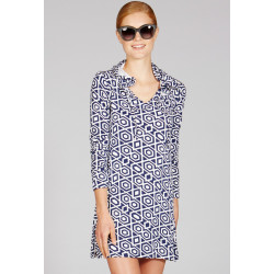 Mott50 Nancy Hooded Cover-Up Navy Diamond