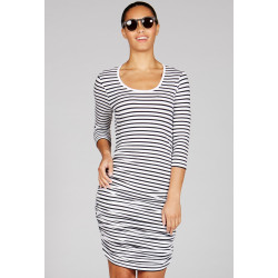 Mott50 Dames Ruch Dress Faith White Navy Stripe