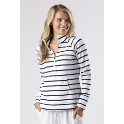 Mott50 Michelle UV pull-over 1/4 zipp Jagger True navy stripe