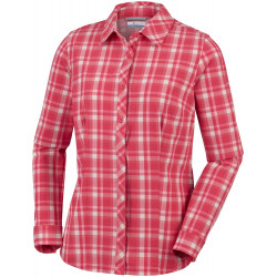Columbia Dames UV Blouse Saturday Trail Stretch Plaid Red Coral