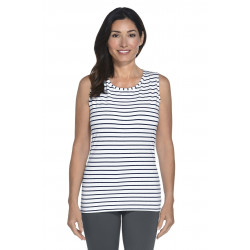 Coolibar - ZnO UV Basic top dames - Navy/Wit Stripe