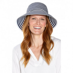 Coolibar - UV Bucket Hoed voor dames - Audrey Ribbon - Navy/Wit